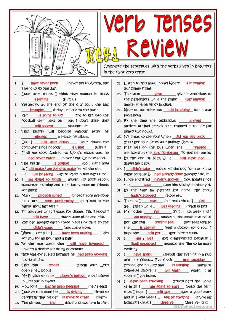 Esl Review Worksheets: b1 verb tenses review 12 worksheet free esl printable worksheets ,