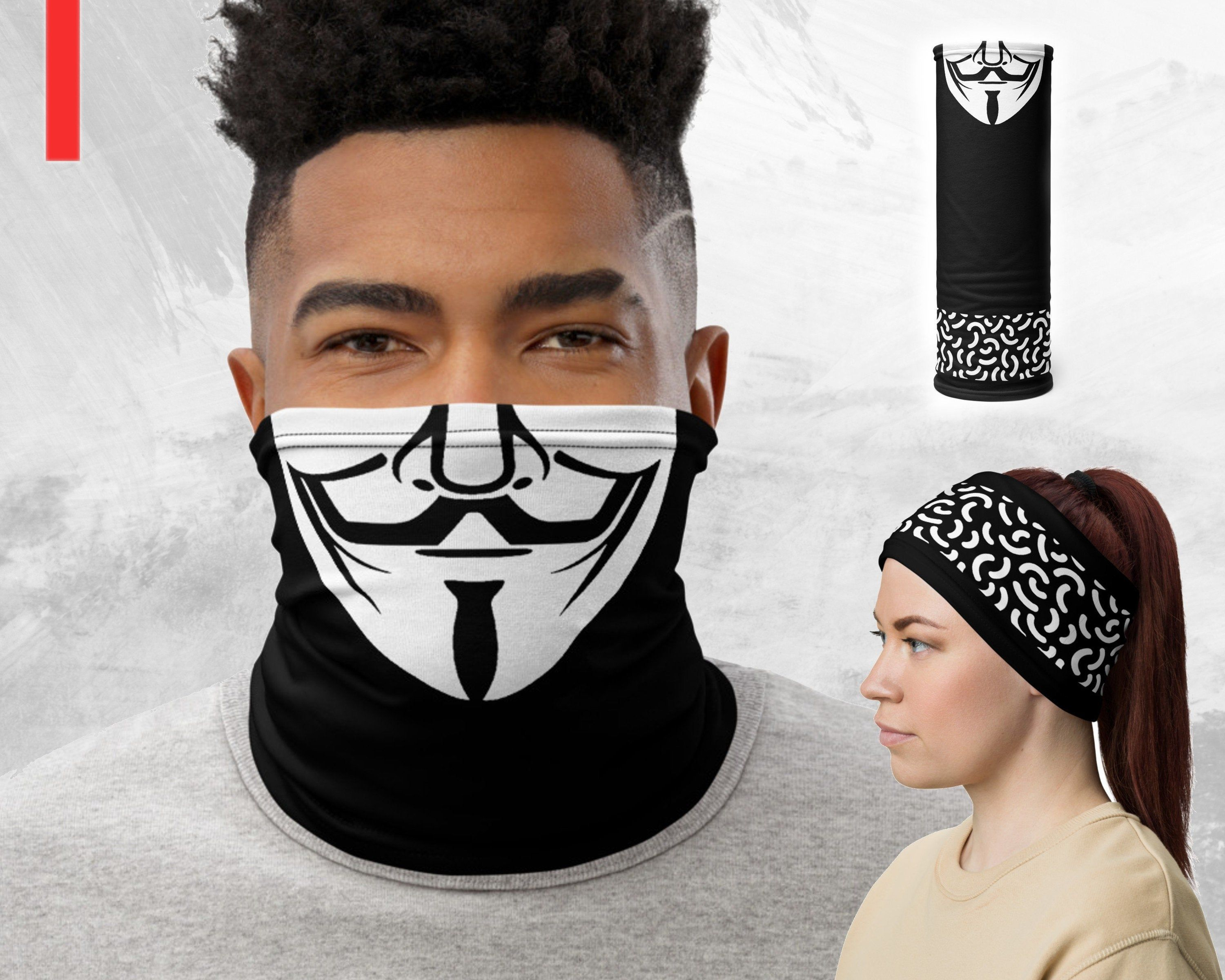 V For Vendetta Face Mask Guy Fawkes Neck Gaiter Washable Etsy V For Vendetta Face Halloween Face Mask Halloween Masks For Sale