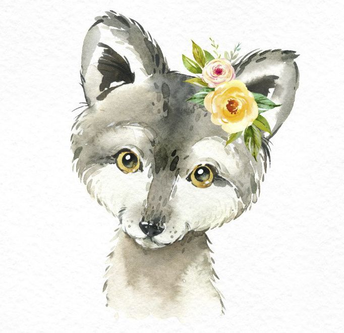 Pequeña ardilla Erizo Wolfie. Acuarela animales clipart, bosque, bosque, flores, niños, lindo, arte de vivero, naturaleza, realista, amigos