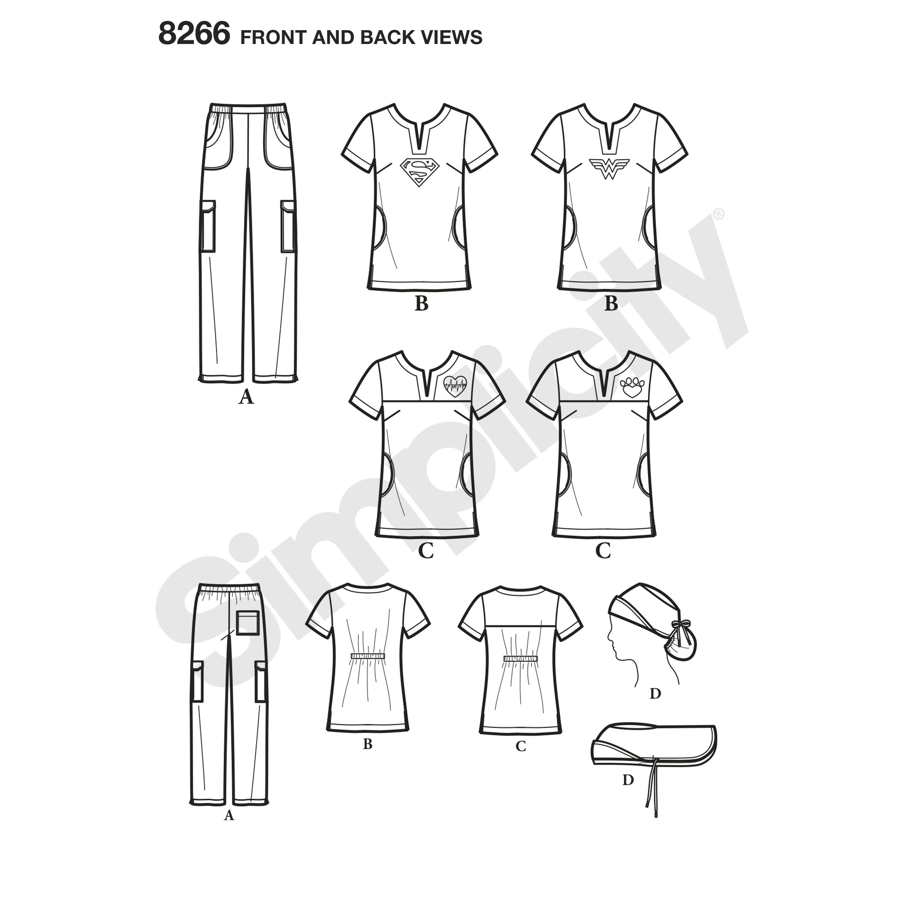 Simplicity Simplicity Pattern 8266 Misses Easy To Sew Scrubs With Ponytail Hat Hat Patterns To Sew Ponytail Scrub Hat Scrub Hat Patterns