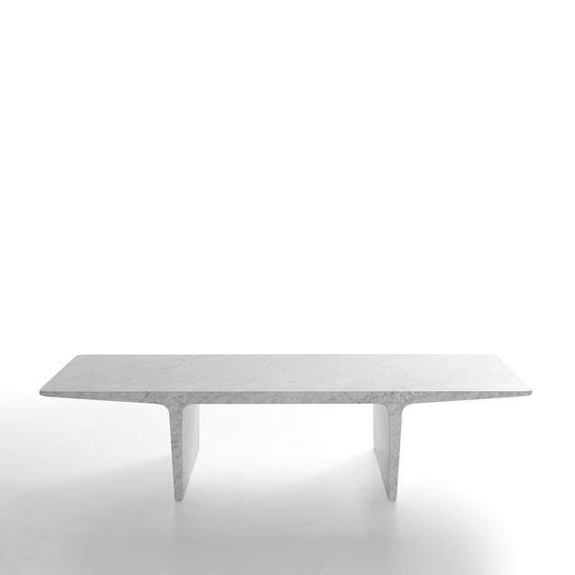 Ponte Low table in white Carrara marble by James Irvine for Marsotto Edizioni, 2009.