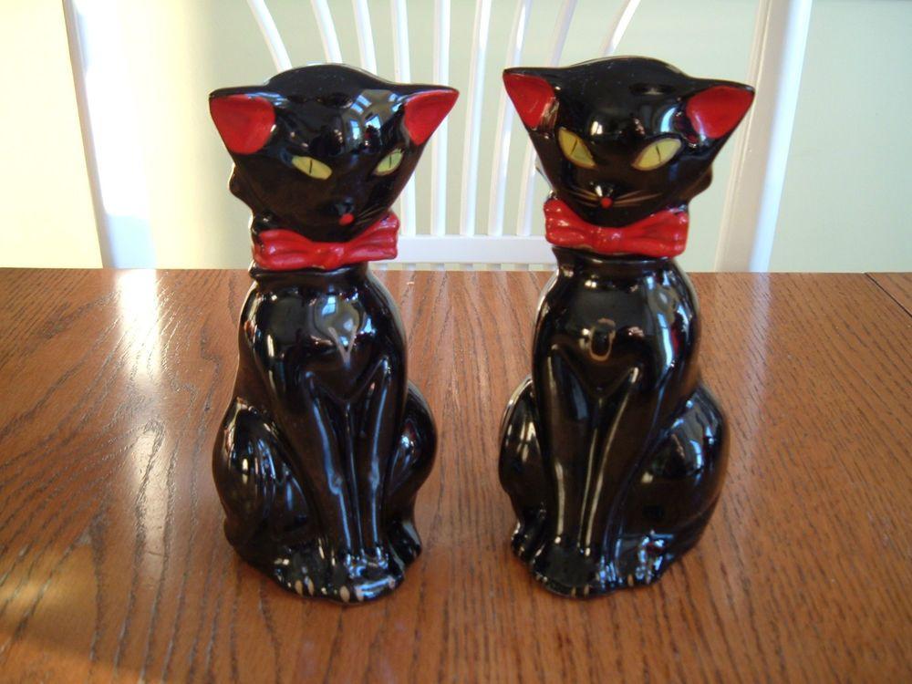 1950 S Shafford Type Black Cat Vinegar Oil Bottle Set An 6 25