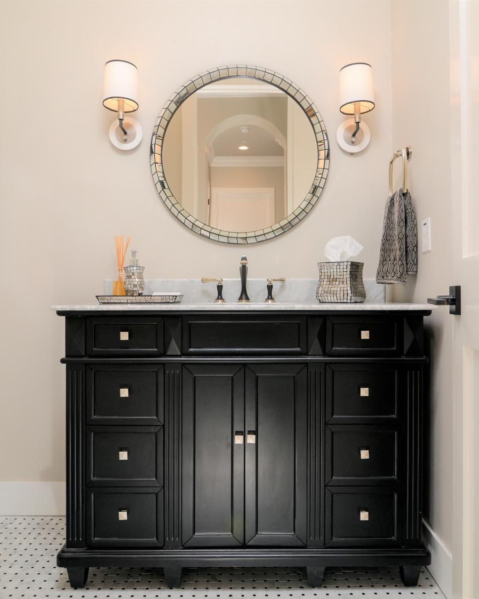 Powder Room With Black Vanity   Favorite Bathrooms   Pinterest ...