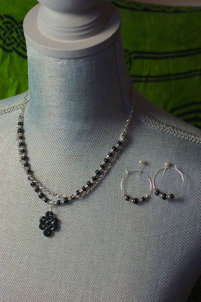 Black and Silver Glass Beaded Necklace & Earring Set with Stone Celtic Knot Pend #TheContraryDame