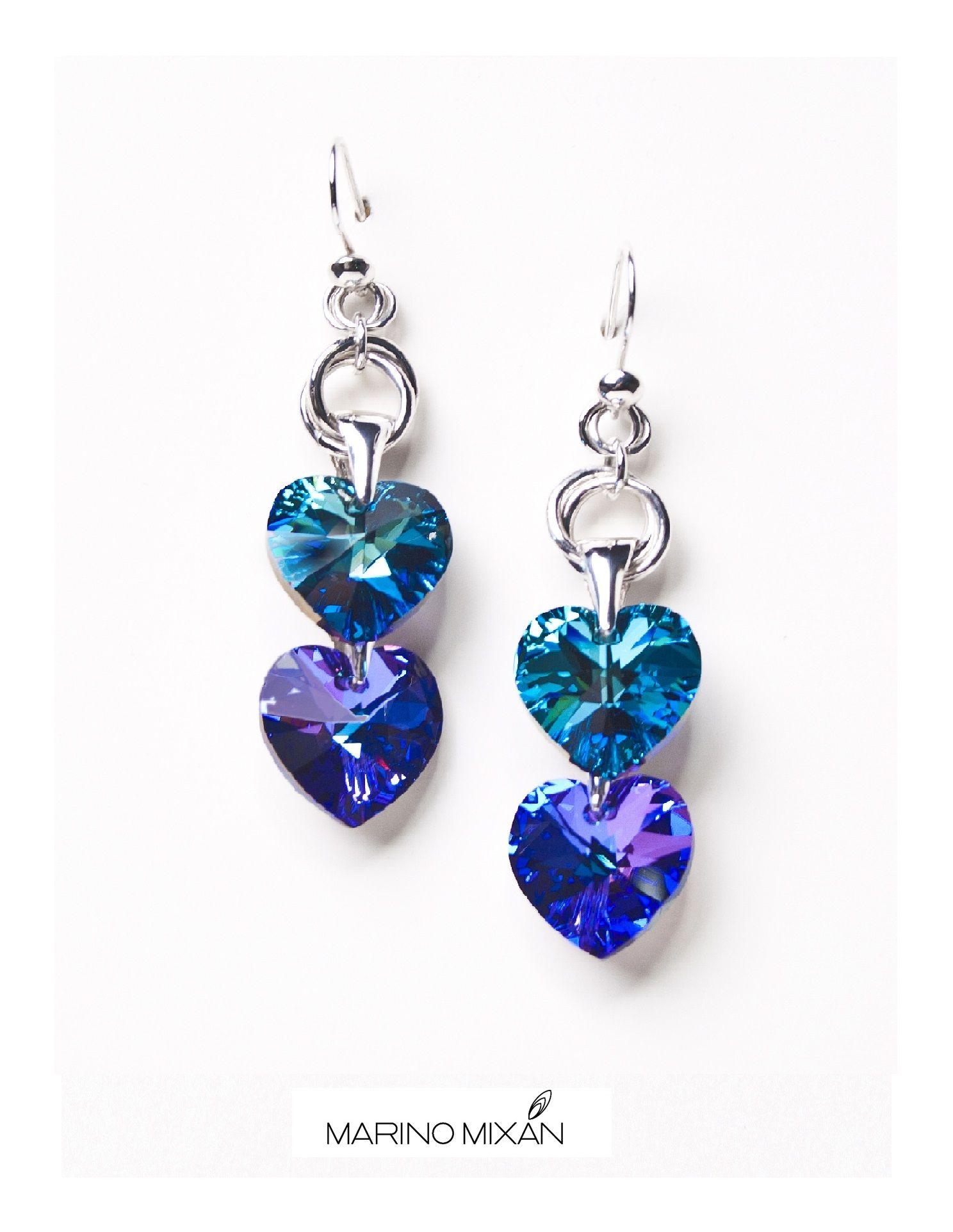 bc20e46190cd Aretes de plata peruana 950 y cristales Swarovski color turquesa e indigo.