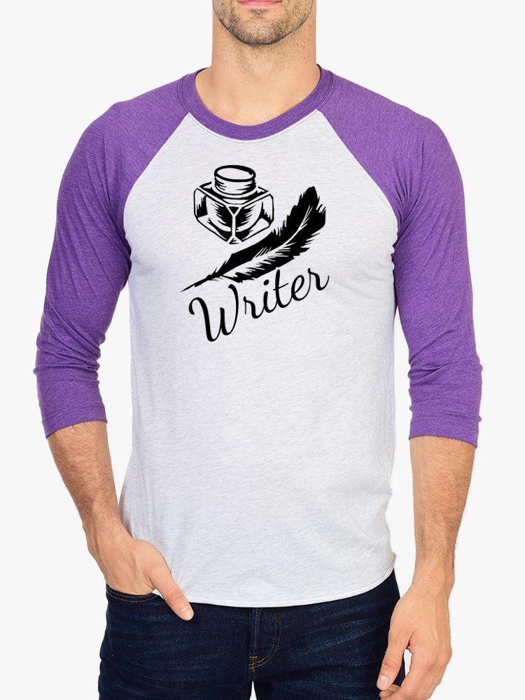 Writer, Quill and Ink Raglan 3/4 Sleeve Unisex Baseball Tee, Nerd Girl Tees, Book Worm, bibliophile