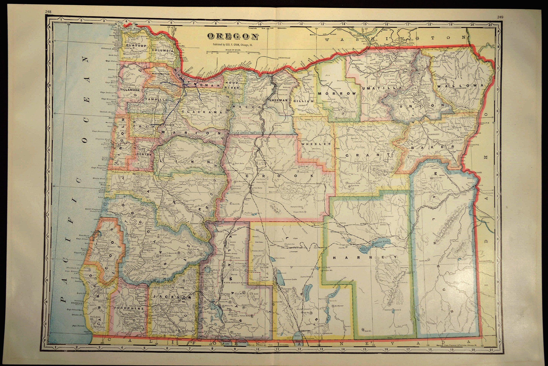 Oregon County Map Oregon LARGE Antique Colorful