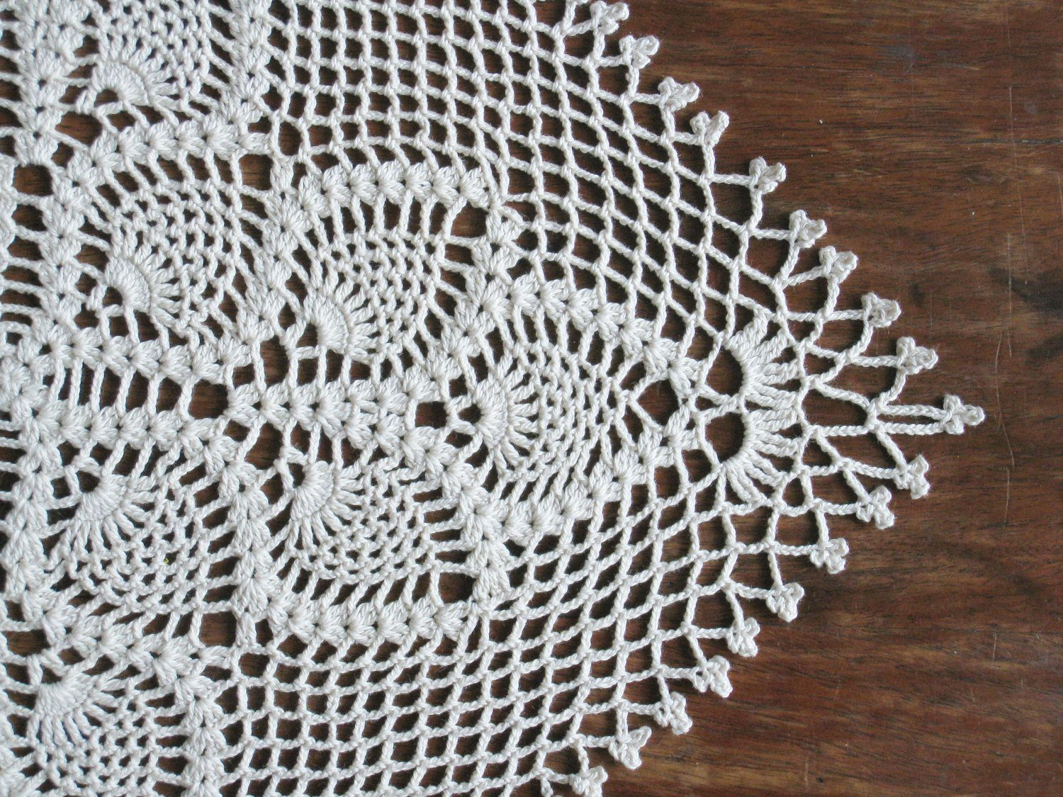 Crochet Square Table Runner Lace Table Cloth   Natural Shabby Chic Cottage  Table Decor Pineapple Pattern Bridal Shower Gift