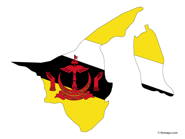 Flag Map Of Brunei Map Vector Vector Free Brunei