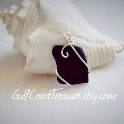 A personal favorite from my Etsy shop https://www.etsy.com/listing/241080960/black-sea-glass-jewelry-black-texas-sea
