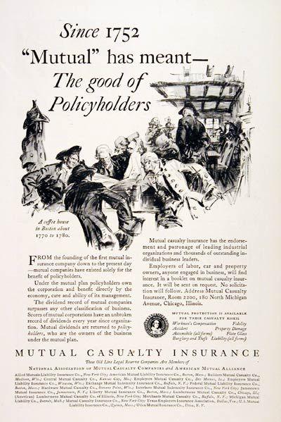 1930 Mutual Casualty Insurance Original Vintage Advertisement Since 1752 Mutual Has Meant The Good Of