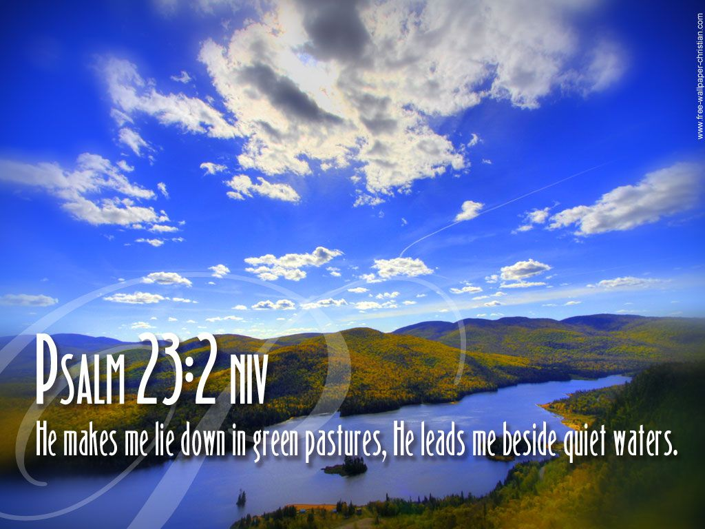 Bible Scripture Wallpaper niv He makes me lie down in