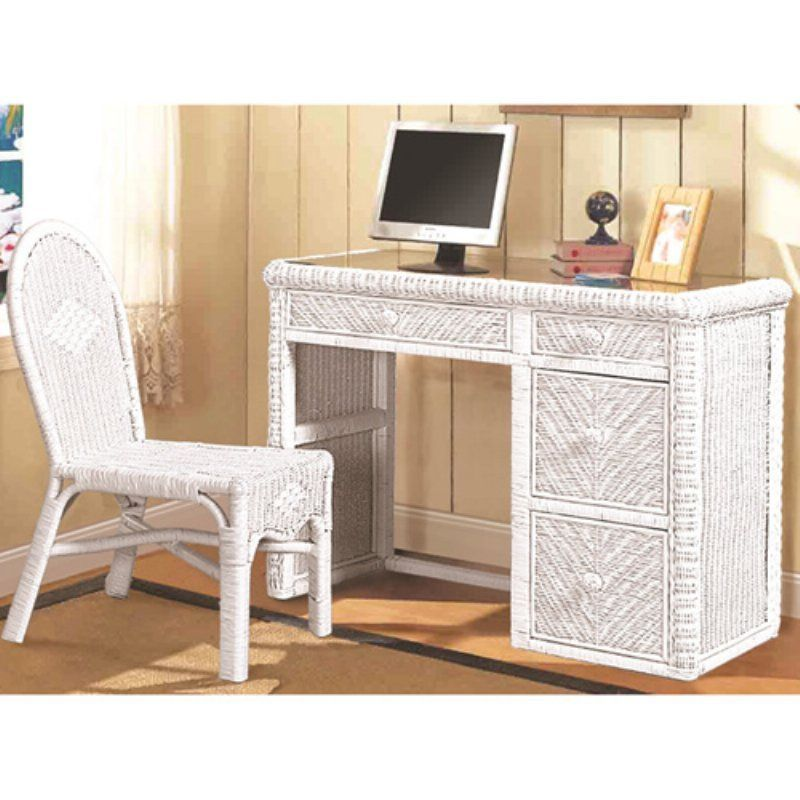 Sea Winds Santa Cruz Computer Desk  Chair Set White - B57974-WHITE - Italian Bedroom Sets