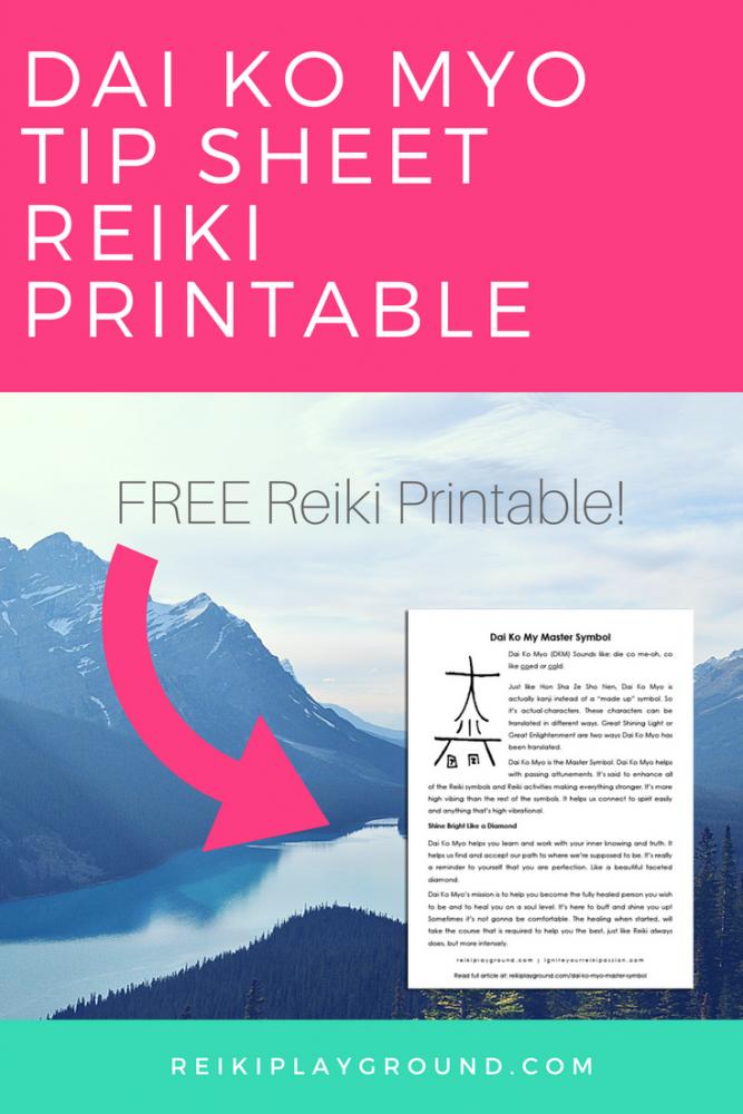 Dai Ko Myo Tip Sheet Reiki Printable Reiki Symbols Massage