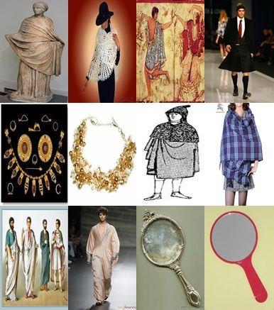 el chal, los hombres con faldas, los collares grandes, la lacerna, los hombres con túnica, los espejos de mano.
