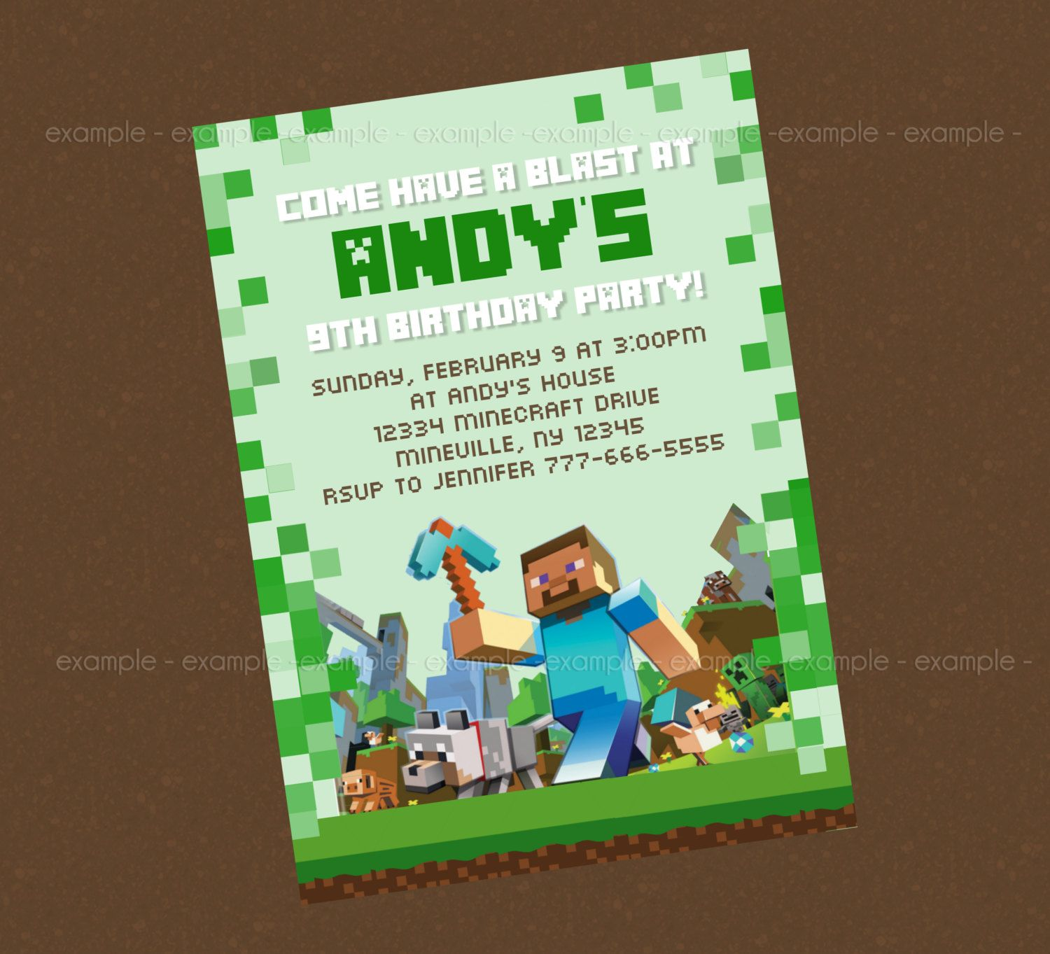 free printable minecraft birthday invitations