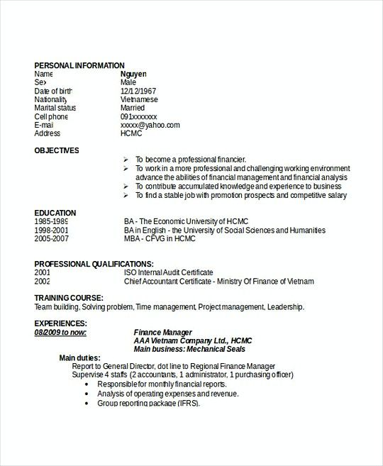 Finance Manager resume template Doc , Professional Manager Resume