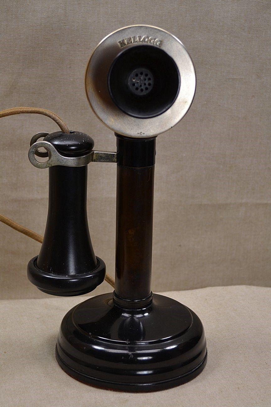 Antique Original Kellogg 1901 Candlestick Telephone Desk Stand Phone Black Ebay