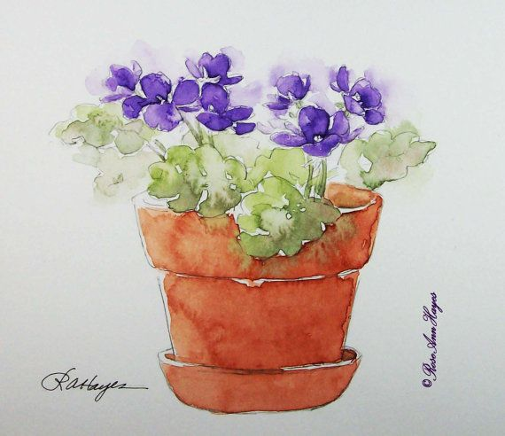 Purple African Violets Original Watercolor Painting Flowers