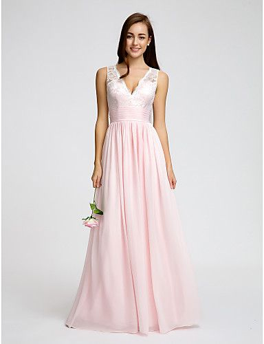 aea70437c96 Lanting Floor-length Chiffon Bridesmaid Dress - Blushing Pink A-line V-neck  2016 -  79.99