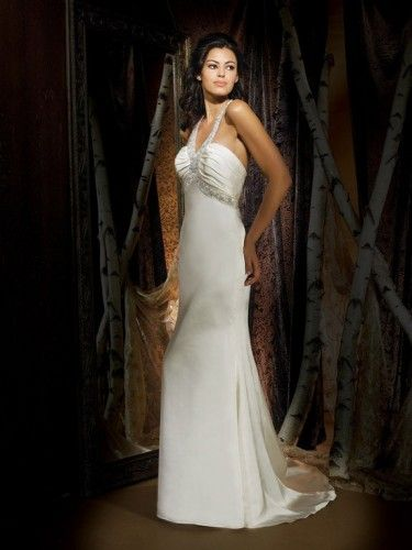 Charmeuse V-Neckline Ruched Bodice Column Wedding Dress