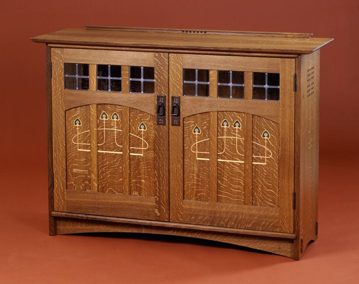 custom Arts and Crafts furnitureMackintosh style inlaid doorsaudio