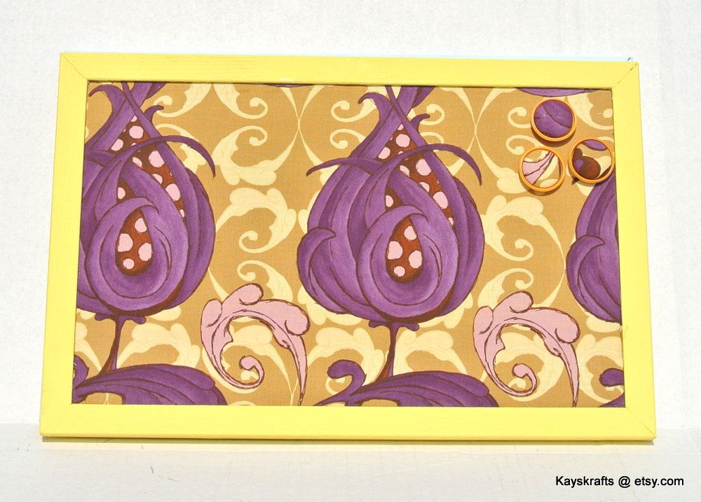 Eggplant And Mustard Cork Bulletin Board Cork Pin Board Tack Board Kitchen  Decor Home Decor By