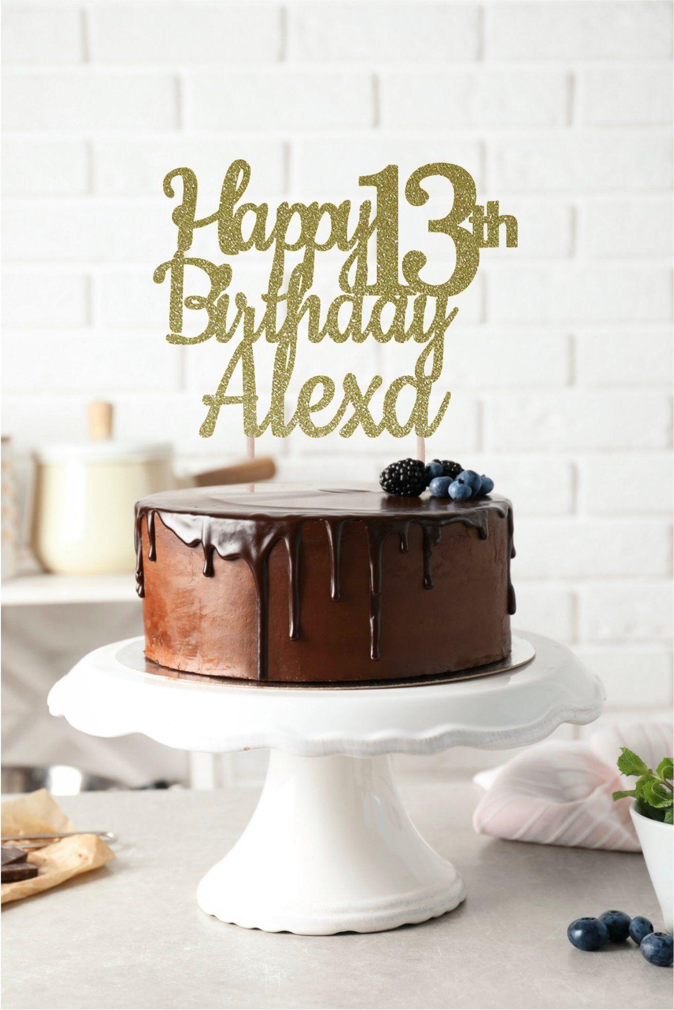 ANY NAME Happy Birthday Cake Topper 13th Custom