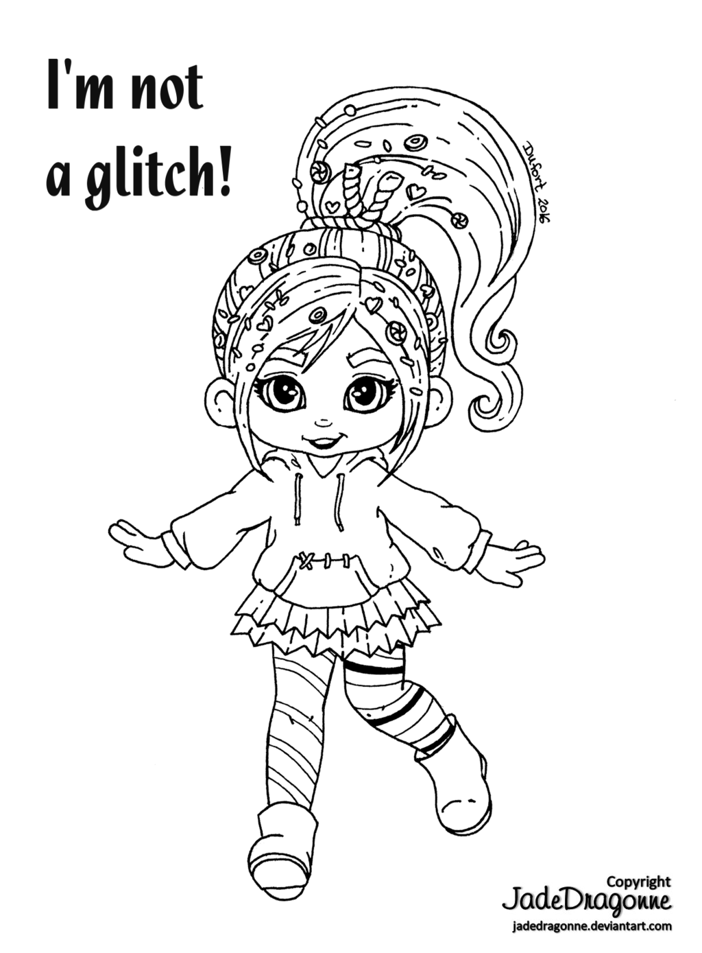 Vanellope - Lineart by JadeDragonne  Coloring pages, Art