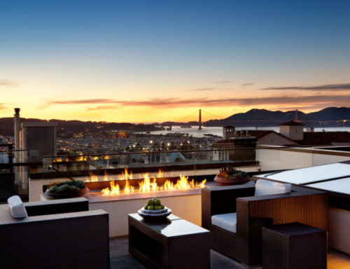 Rooftop area with a view