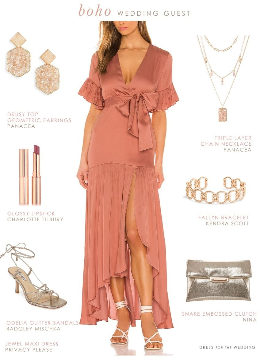 What To Wear To A Boho Wedding Dress For The Wedding Beach Wedding Outfit Guest Bohemian Wedding Attire Wedding Guest Outfit [ 1181 x 848 Pixel ]