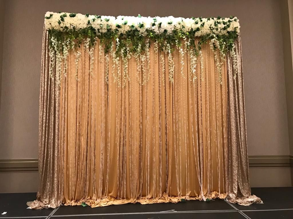 Flower Backdrop Wedding Gold And White Flowers Flower Backdrop