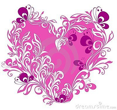 Heart With Butterfly Wings And Floral Decoration Stock Photo ...