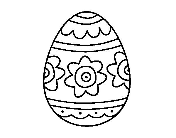 Dibujo de Huevo de Pascua con flores para colorear | Dibujos de ...