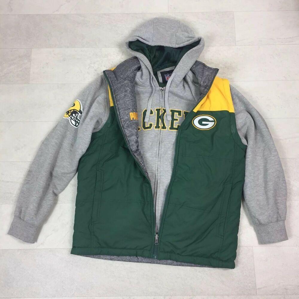 brand new d7891 15e46 NFL Green Bay Packers Vest Hoodie Unisex Sz Medium 5-in-1 ...