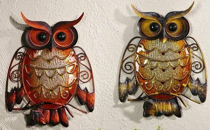 Tuscan Owl Decor New Metal Plaque Orange Or Yellow Garden Home Wall Sculpture