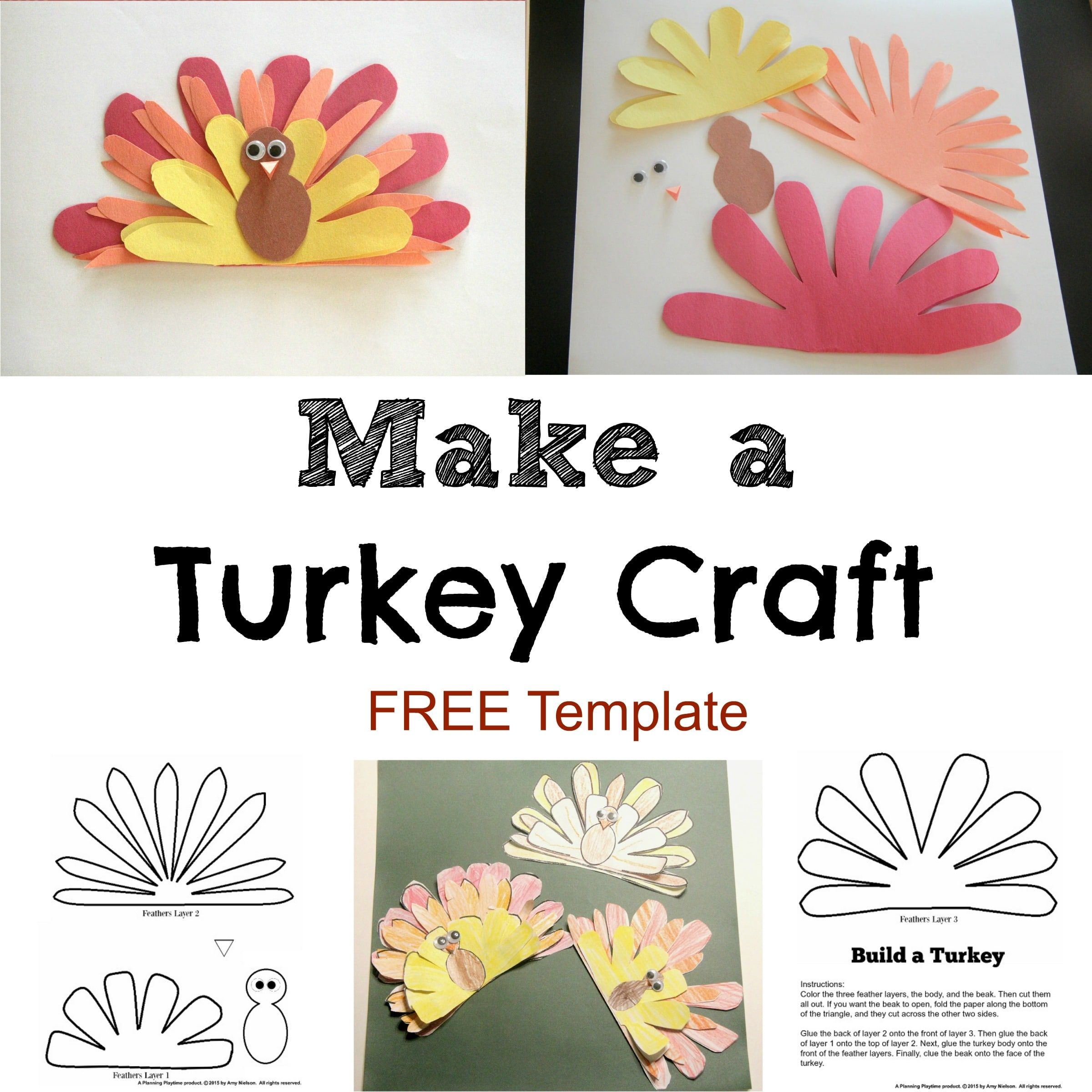 Cute Turkey Craft W Free Printable Template