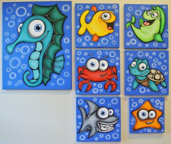 sHARK - 12 x 16 original acrylic painting on canvas for kids rooms, nursery art, fish paintings
