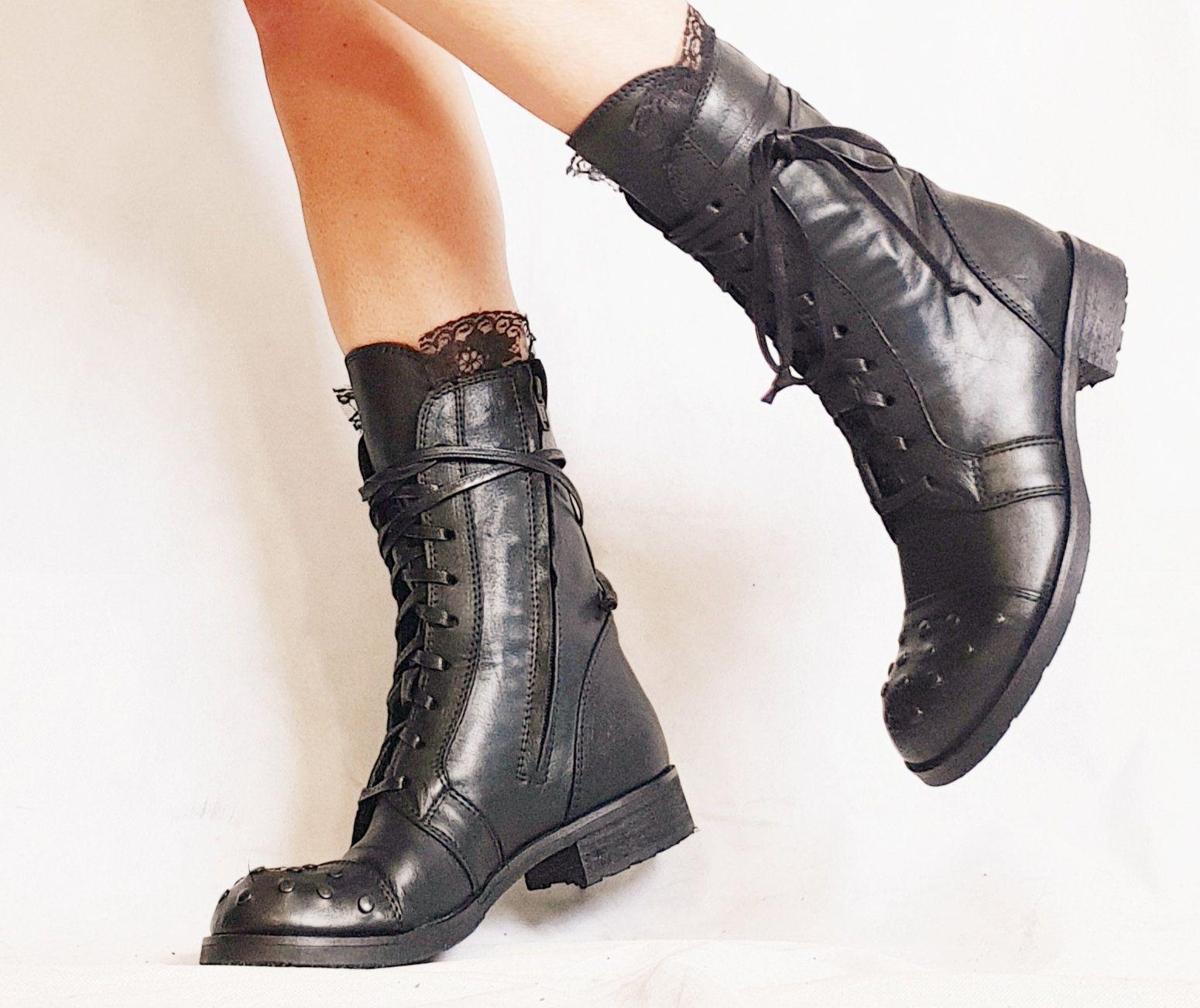 Rocker Boots Women Black Boots Leather