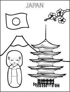 Kleurplaat Japan Vlag Pop Kleurplaten Colorings Coloriages