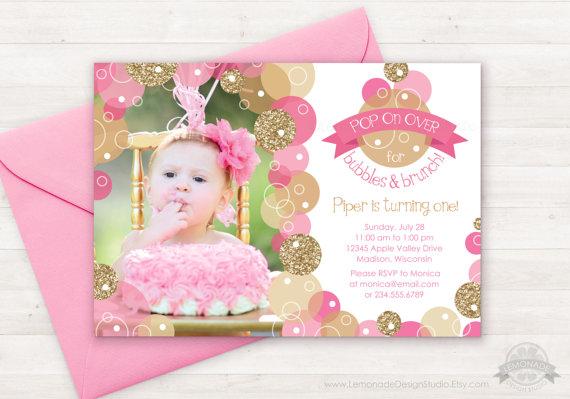 Pink gold bubble invitation glitter bubbles brunch invitation pop glitter bubbles and brunch invitation pink by lemonadedesignstudio filmwisefo