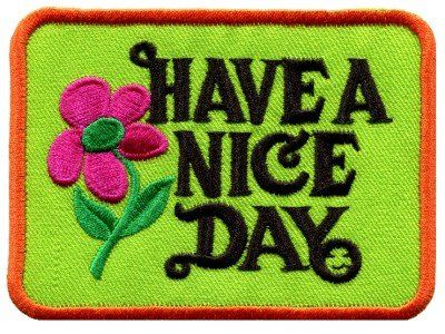 Have a Nice Day 70s Retro Hippie Boho Groovy Appliques Hat Cap Polo Backpack Clothing Jacket Shirt DIY Embroidered Iron On / Sew On Patch 1 *** Check out this great item.