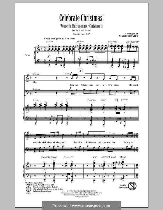 Christmas Is by M. Brymer Digital sheet music, Sheet