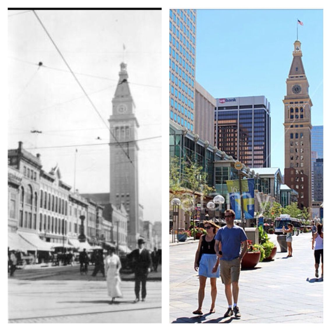 Then And Now. 16th Street In Downtown Denver, CO (LoDo