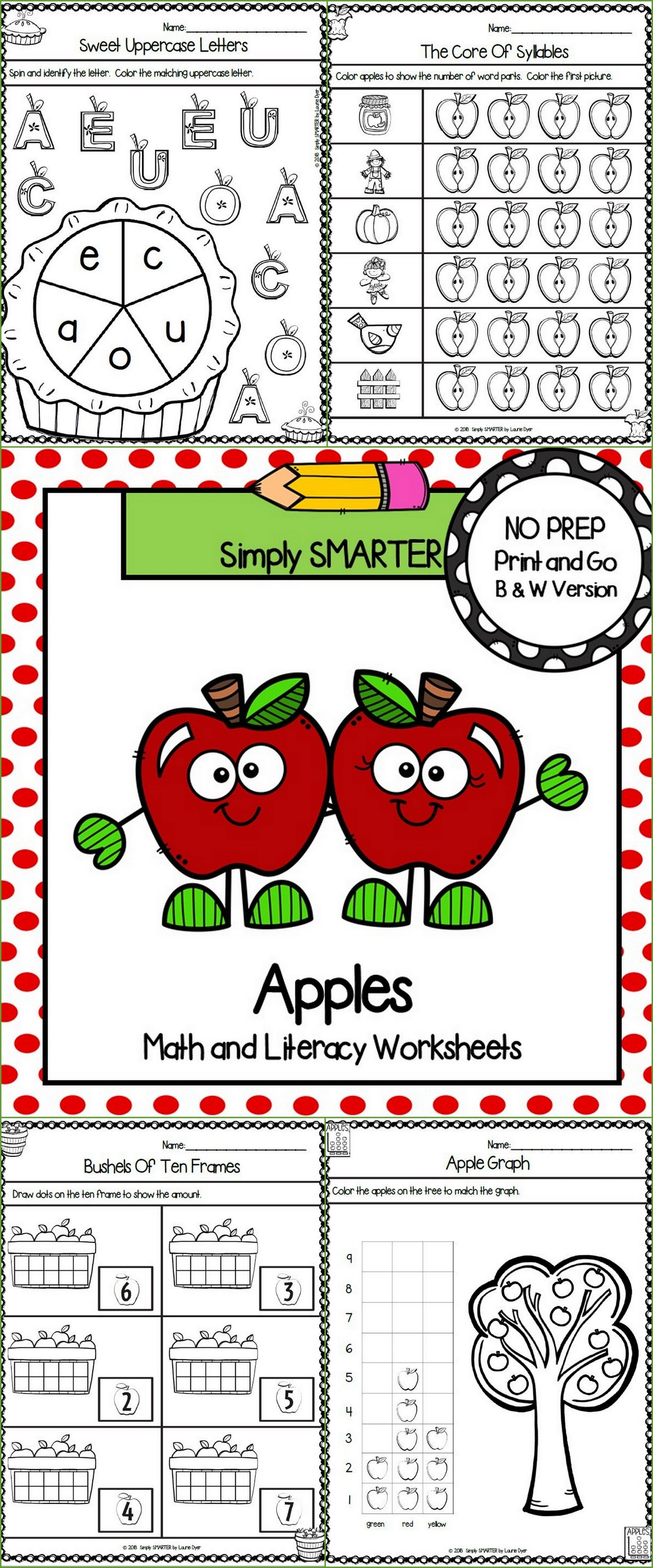 Apple Themed Kindergarten Math And Literacy Worksheets And