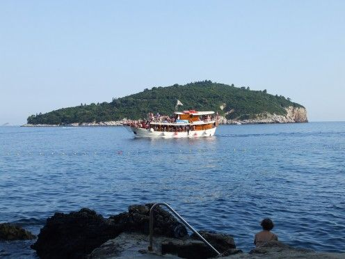 View of Lokrum Island from the harbour of Dubrovnik Old Town in Croatia on the Adriatic Coast.