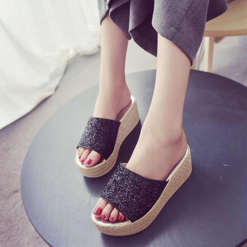 Details about Hot New Womens Platform Slippers Shoes Wedge