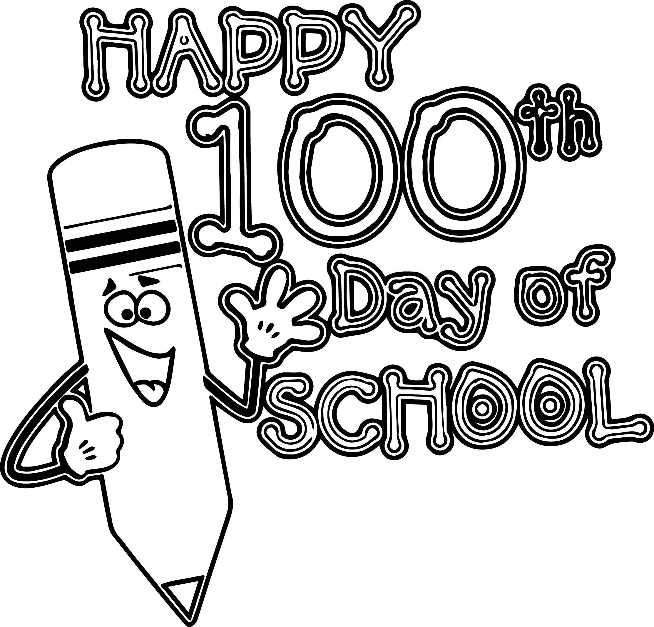 Nice Happy 100th Pencil School Day Coloring Page