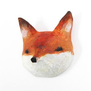 Abigailbrown Fox Paper Mache Head Animaux En Papier Mache
