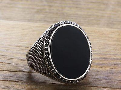 Detalles acerca de Turco Ónice Negro especiales de plata esterlina 925 Anillo de piedra para hombre Mans todos nosotros si̇ze- mostrar título original